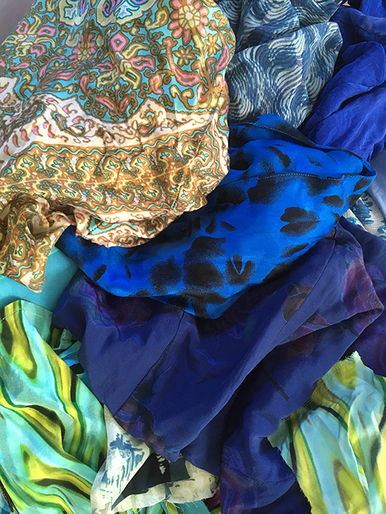 Assorted found fabrics