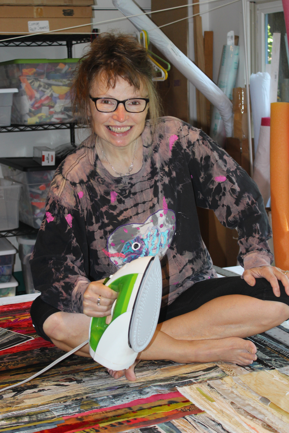 Benner with iron, an essential tool in her studio!