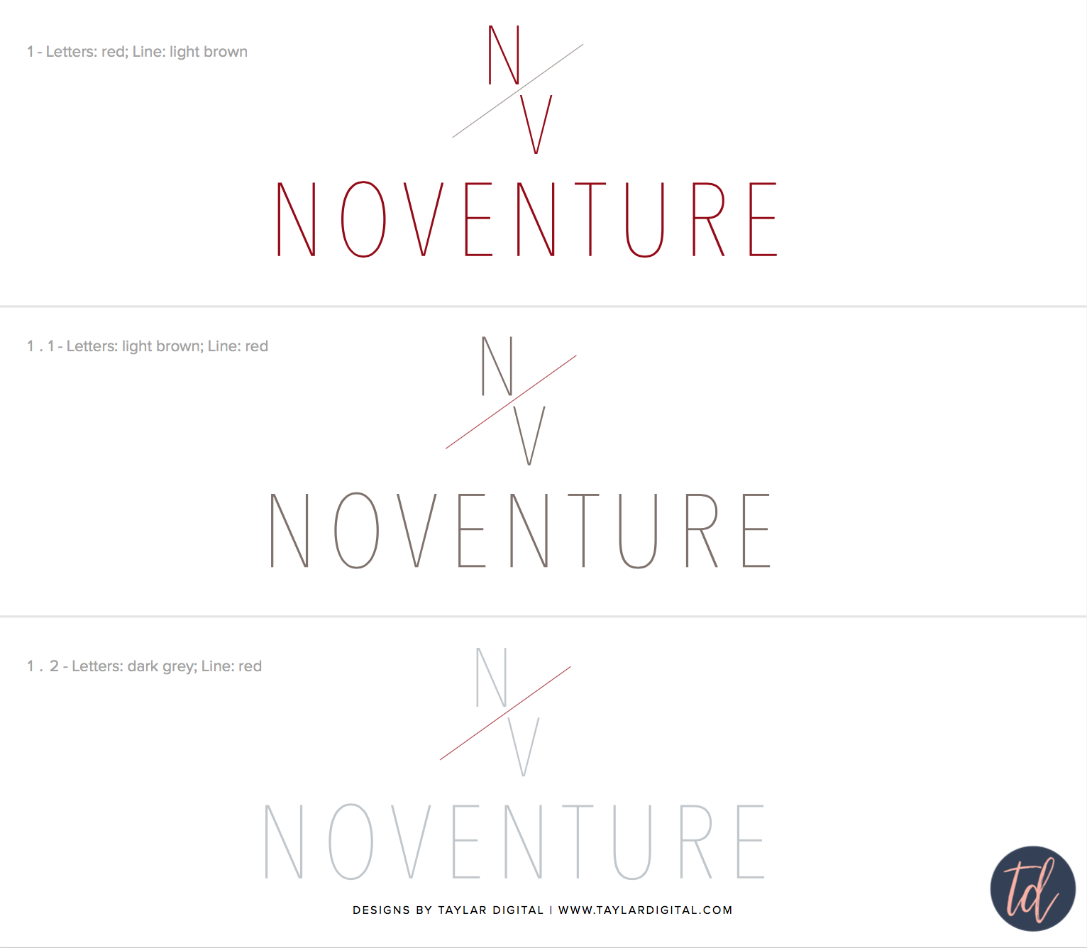 Noventure logo concepts in color