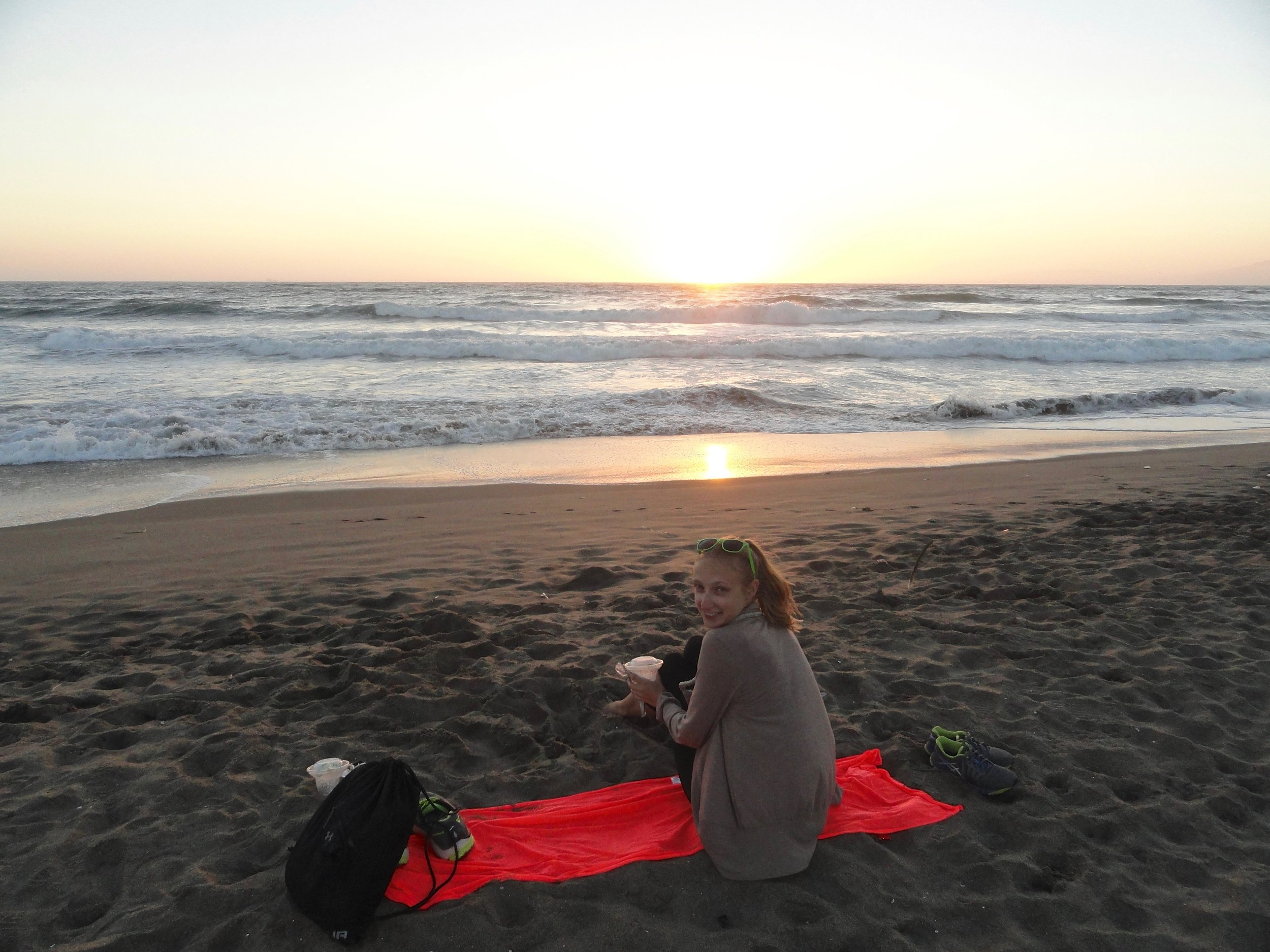 Sunset on the beach in San Francisco.