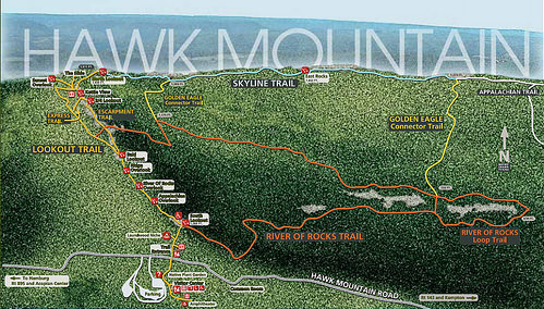 From the Hawk Mountain website. We'll usually head to the bottom part of River of Rocks and choose our adventure from there.