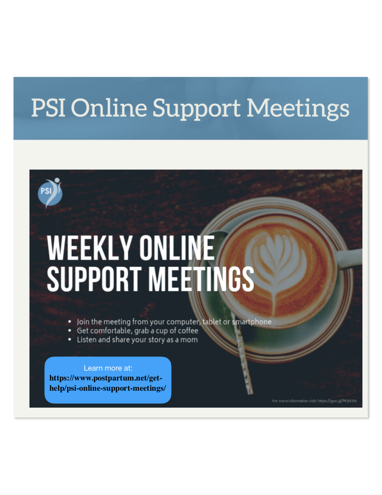 Postpartum Support International offers weekly  online support groups  for parents struggling with a Perinatal Mood or Anxiety Disorder
