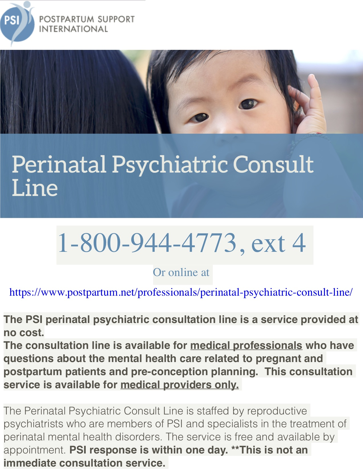 No cost perinatal consults for providers - Staffed by reproductive psychiatrists specializing in the treatment of patients with PMADs