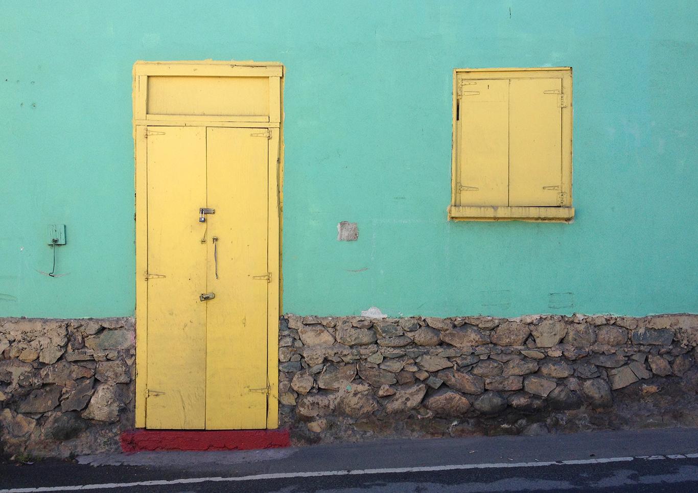 Turquoise Wall Yellow Door