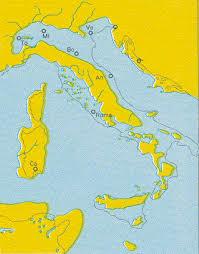 Italia, hà milhoes de anos atras a agua dominava esta terra. - Imagem: fmboschetto.it/autore/Italia_antica.htm