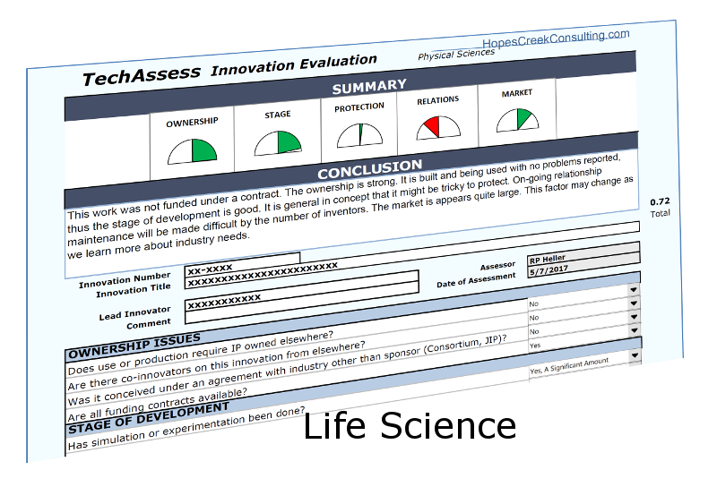 TechAssess for the Life Sciences - TechAssess is a technology assessment tool for use in evaluating an invention for its potential for licensing. This version is for use with Life Sciences, pharmaceuticals, diagnostics and therapeutics. If you agree with the license, it is a gift for you at no cost.