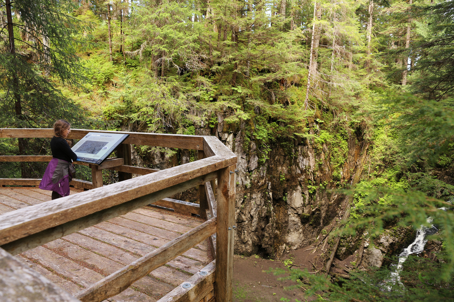Beaver Falls Karst Trail overlook on Prince of Wales Island POW in Southeast Alaska