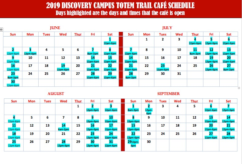 Kasaan Totem Trail Cafe 2019 schedule
