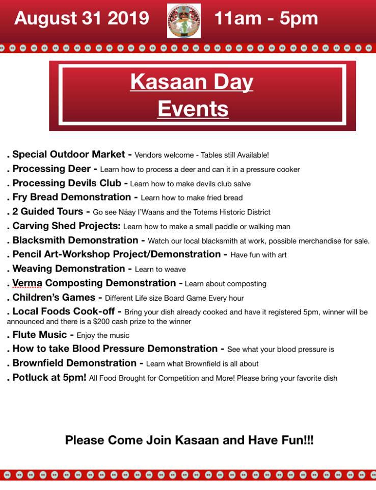 Kasaan Day Schedule 2019