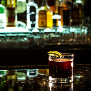 BITTER LIBRE   • .75 oz. Flor de Cana Dry Rum • .75 oz. Averna • .75 oz. Ramazzotti Amaro • 5 oz. Angostura Bitters • .25 oz. Vallet Fernet • .25 oz. Lime Juice  • 1. Combine all ingredients in a mixing glass over ice and stir until chilled. • 2. Strain over a coconut water ice cube into a rocks glass. • 3. Garnish with a lime wheel.