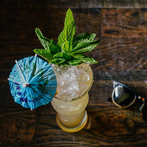 DAY DREAM JOHNNY   • 1 oz. Nautical Gin • .75 oz. Elijah Craig • .25 oz. Hamilton Pimento Dram • .5 oz. Lemon juice • .5 oz. White grapefruit juice • .5 oz. Fennel Orgeat • .25 tsp. House Undead Mix • 1 dash Angostura bitters  • 1. Combine all ingredients in a cocktail shaker and shake with crushed ice. • 2. Open pour into a napoli glass. • 3. Garnish with mint.