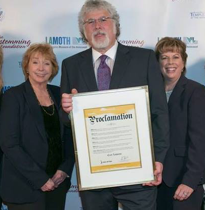 Richard holds Screen Actor's Guild proclamation to Holocaust survivor and hero Curt Lowens. With Los Angeles Local Executive Director Ilyanne Morden Kichaven (right), and Los Angeles First Vice President Jenny O'Hara (left).