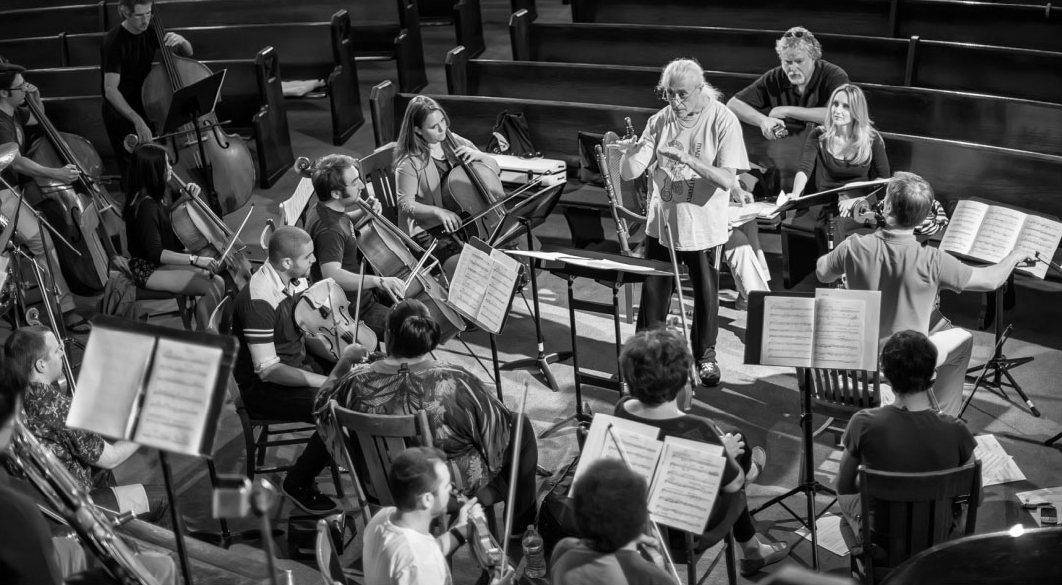 Rehearsals for event commemorating Holocaust survivor and hero of the Dutch Resistance, Curt Lowens. Photograph by Norman Schwartz.