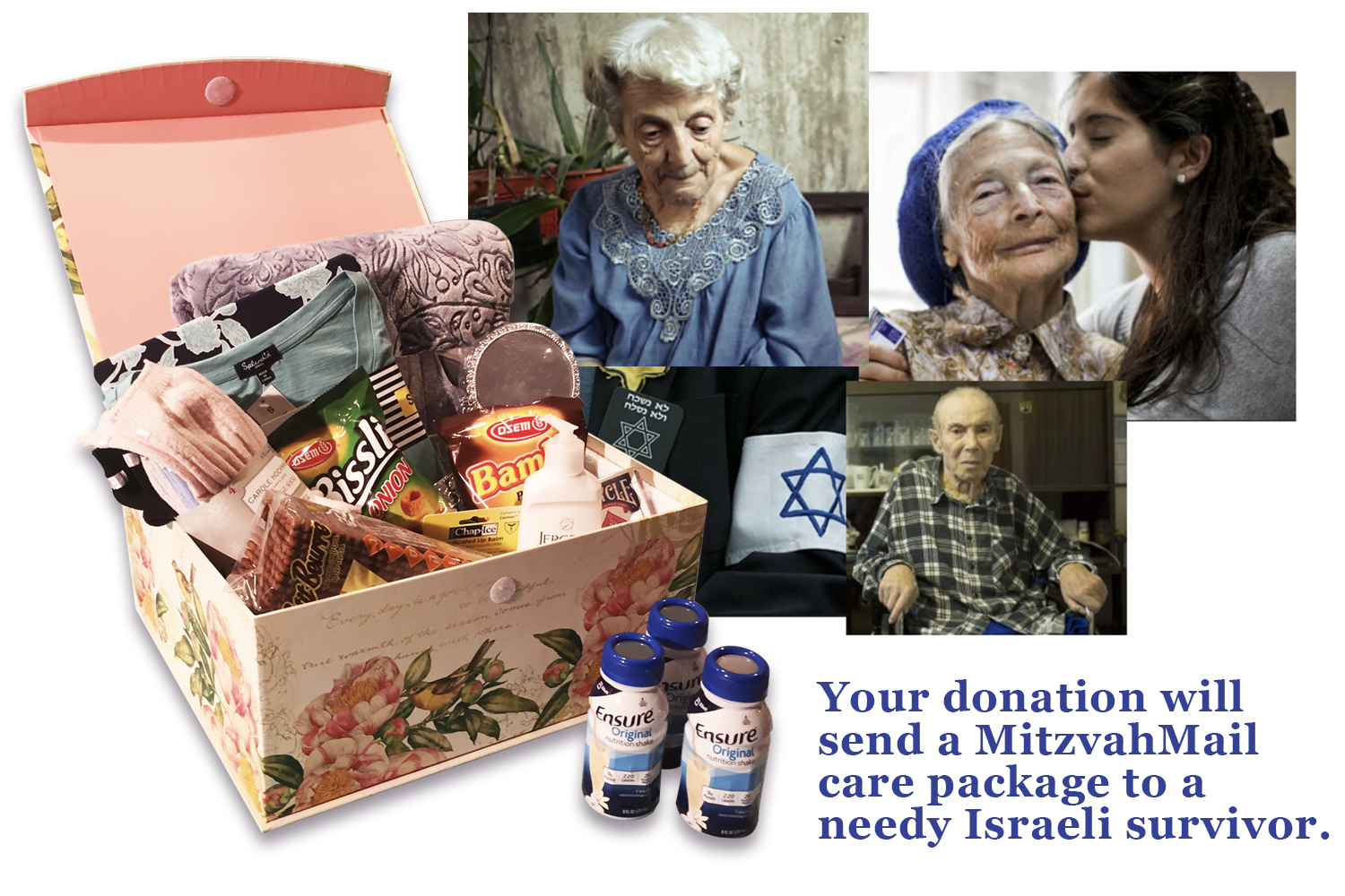 Imagine the delight when a survivor receives a package of goodies, toiletries and other sundry items, along with a personal note of love and support from you.  We are partnering with Aviv for Holocaust Survivors to identify needy survivors and to ship them a box of love and hope from you.  Each MitzvahMail package includes:    •. A warm, cozy blanket / throw •. Mens or ladies pajamas •. Warm, fleecy socks •. Personal care items (skin lotion and lip balm) •. Ensure® Original nutritional drink •. A deck of playing cards •. Familiar Israeli goodies and treats •. ... and a hand mirror so they can see how beautiful they are to us.    Our costs to acquire items, package them and ship is approximately $100 per MitzvahMail package.  We will ship one for every $100 received.  For every $100 donation, we urge you to email your personal note for inclusion in your MitzvahMail package.  Please e-mail  richard@themankindproject.org  with your message.    Your donation of any amount would be greatly appreciated and go to immediate survivor aid.  Please click the donate button.