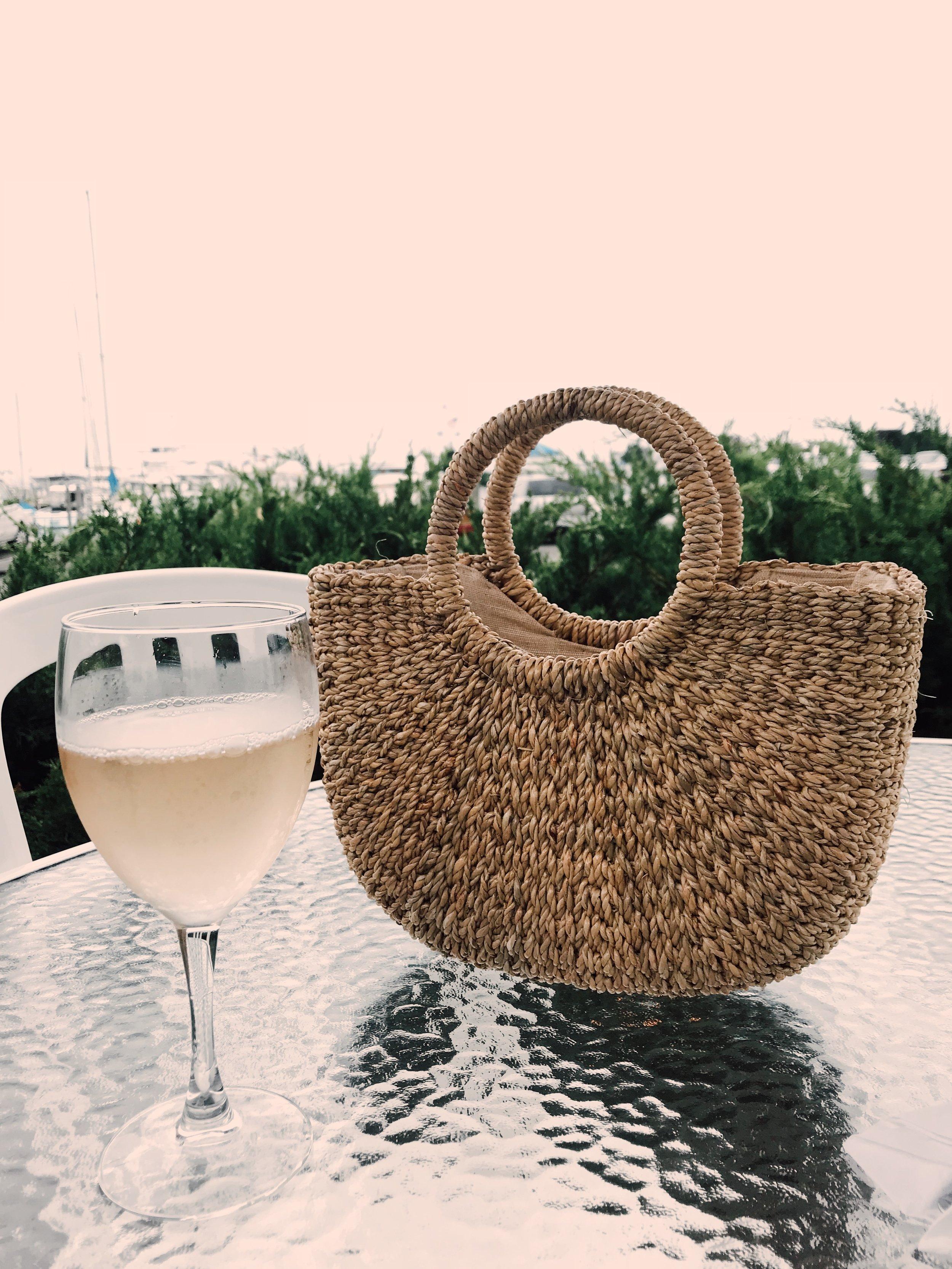 Hand-woven Straw Bag from Sea & Grass at Satori, Sag Harbor.