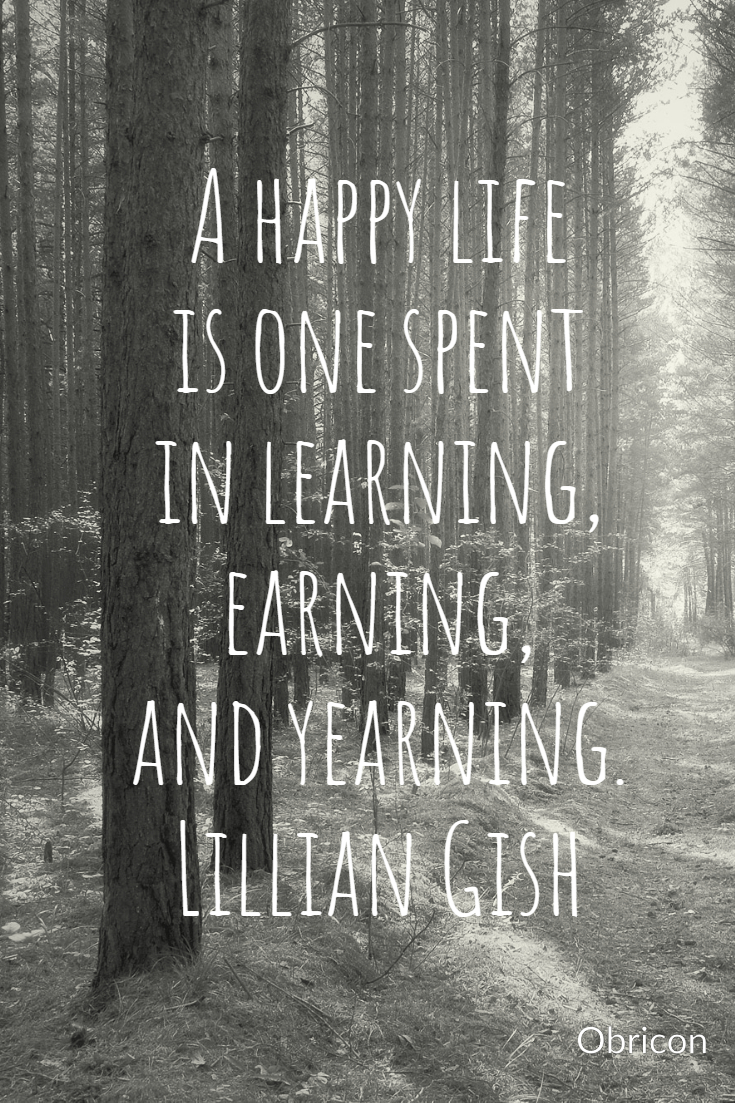 A happy life is one spent in learning, earning, and yearning.  Lillian Gish.jpg