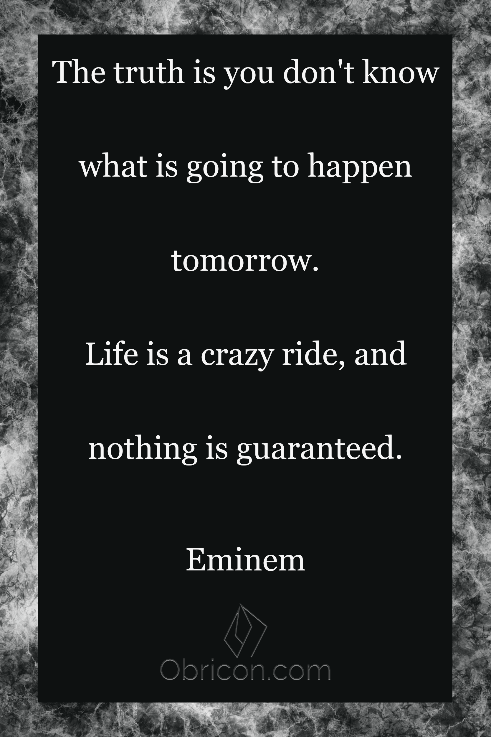 The truth is you don't know what is going to happen tomorrow. Life is a crazy ride, and nothing is guaranteed. Eminem.png