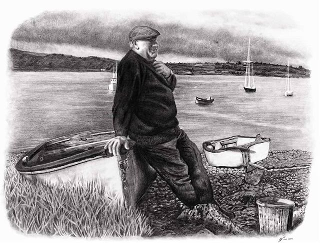 """I was looking forward to sharing this one for awhile now. This was one of my favourite commissions of the year.  It's of a fisherman named Mossie.  Mossie was always fishing on the river Blackwater for salmon and lobster ... Where the boats are called """"the ferrypoint"""", which is the slip where people used to gather in years gone by to get a ferry across the river Blackwater to shop for food. He used to go out on his small boat to the larger one that's behind him in the picture.  I was told that Mossie was the quietest man but had the heartiest laugh. Countless stories were told while leaning on that boat ..and so many were listened too also.  An absolute magic piece to have gotten to work on, and thanks so much Louise for asking and trusting me with this one. I initially was going to draw this without the background but in the end I decided it was essential to complete the story. 🐠🐟🎣 Finished with @staedtlermars pencils, 2H-9B  @ruabelfast . . . - . - . - .  #finnharperartwork #drawing #pencil #artwork #commission #portrait #irish #pencildrawing #musician #irishartist #fishermanswharf #fisher #fishing #oldman #grandad #illustration #ireland #pencilsacademy #irishartists #instaart #instagram #instagood #instadaily #galway #celtic #fisherman #vintage"""