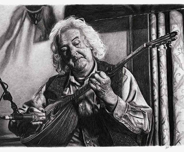 One of my most important and detailed pieces to date. It's of one of the most infamous bouzouki players in Irish music, Alec Finn.  It's near impossible to put into words, the influence that this man and his music have had across the world since the mid 70's.  Alec, a bouzouki player, artist and guitarist was one of the founding members of one of the most famous Irish music bands, DeDannan.  DeDannan burst onto the scene in the mid 70's and was co founded by Frankie Gavin, Charlie Piggott and Johnny Ringo McDonagh.  Since then, their recordings have gone down as iconic and have paved the way and influenced countless musicians and fond listeners alike.  What was special for me with Alec's playing was the character, depth, and colour he could give to the music, it was completely unique. What was also unique about Alec was the fact that he played a traditional round back greek bouzouki with 3 pairs of strings, tuned DAD.  I also had the pleasure of meeting and playing tunes with him in Miltown Malbay 4/5 years back. The last time I saw him play was at a concert 2 years back at Ennis Trad Festival with Frankie Gavin and Derek Hickey, Spellbinding music. I gave special attention to this portrait trying to capture more a little more detail than usual and hopefully managed that.  RIP Alec Finn. Thanks for the music. (1944-2018) **** Limited Edition Prints Available At **** https://www.finnharperartwork.com/shop/alec-finn  @gradamceoiltg4 @ruabelfast @royaldrawingschool @rte_culture @worldofpencils . - . - . - .  #finnharperartwork #drawing #pencil #artwork #commission #portrait #irish #pencildrawing #musician #irishartist #irishartistsofinstagram #irishart #ireland #irishmusician #bouzouki #mandolin #mandolincafe #alecfinn #frankiegavin #dedannan #guitar #instaart #instagood #instagram #irish