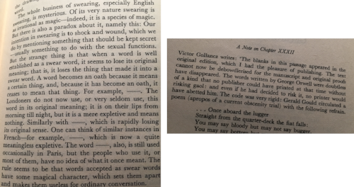 In my edition of DOWN AND OUT IN PARIS, the publisher offers a charmingly indignant apology (right) for the text's absent swear words (left).