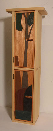 Pine Cabinet with Low-Relief Carving