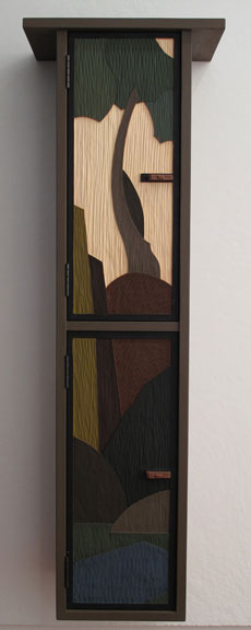 Tall Grey Cabinet with Low-ReliefCarving