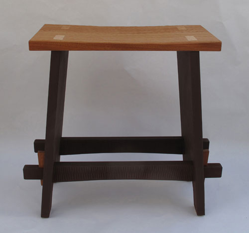 Plank Stool with keyed through tenons and carved seat