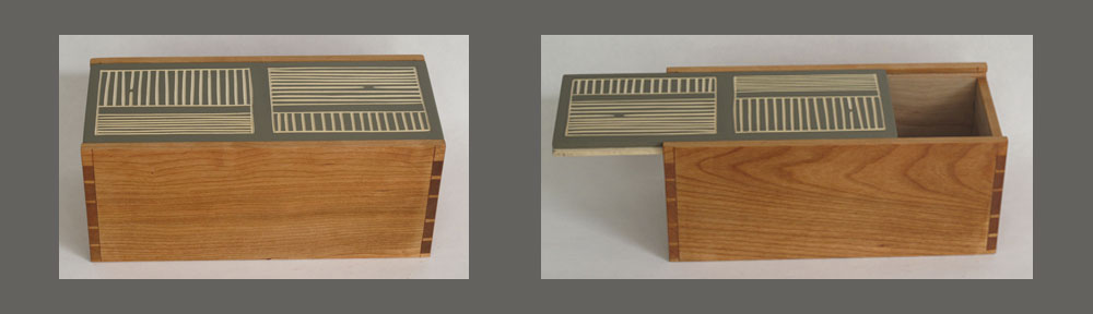 Two-way cherry sliding lid box with carved and painted basswood lid