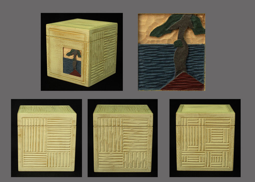 Basswood sawn-lid cube with low-relief and texture carving, painted with milk paint