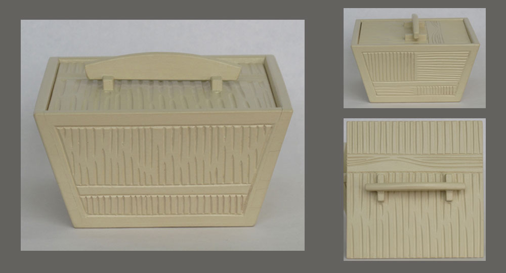 Basswood box with 4 sloped sides and texture carving, painted with milk paint