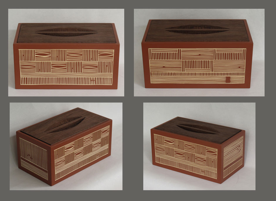 Painted basswood box with walnut drop-in lid, carved handle, and gouge-drawn texture carving