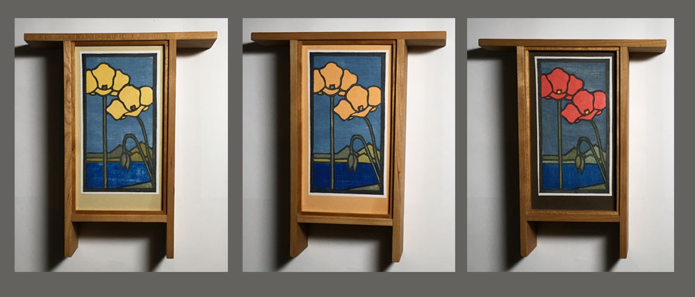 Poppies: Woodblock Prints in Arts and Crafts Style cherry frames