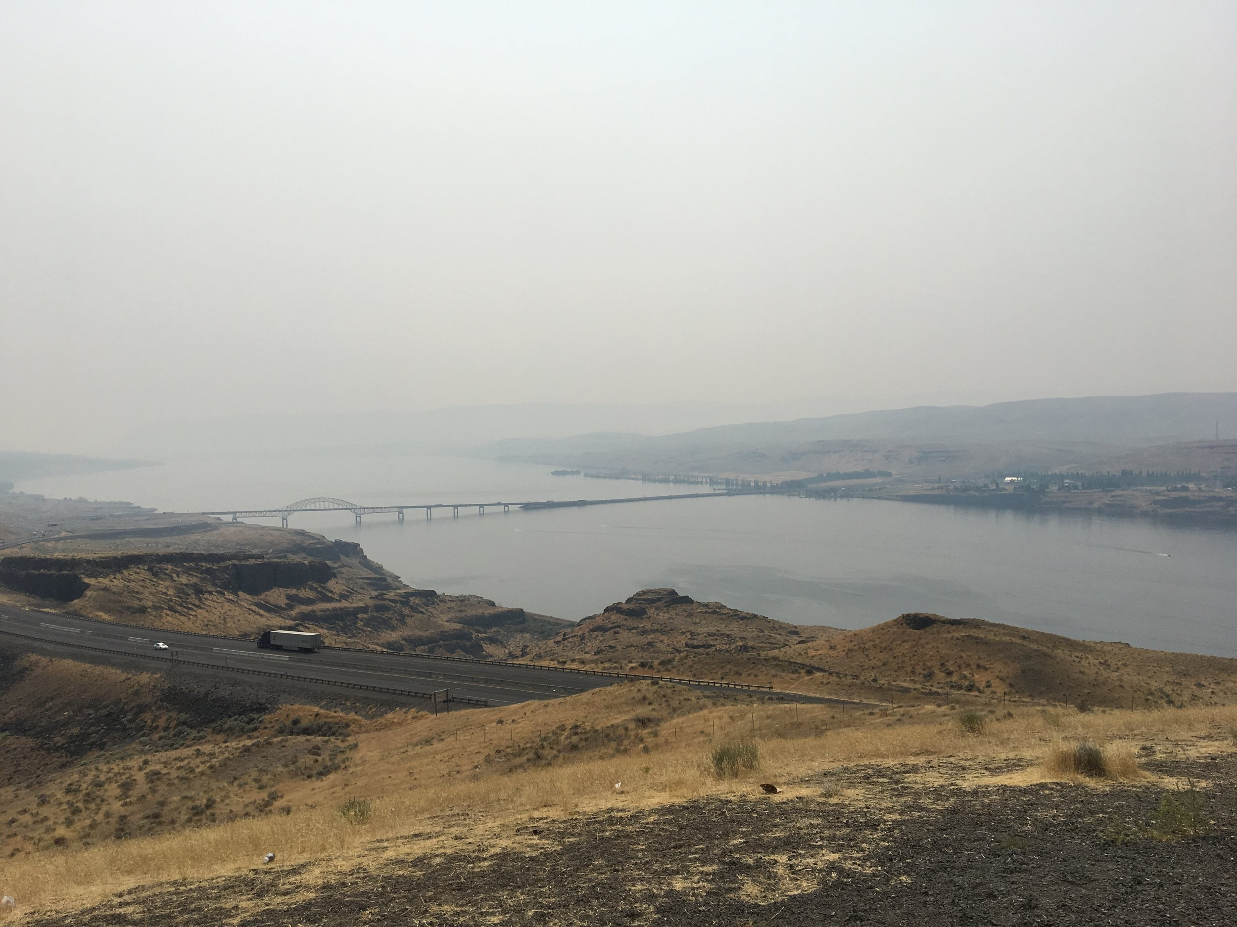 Looking back on the Columbia River from the Wild Horse Monument. Smoke for days...