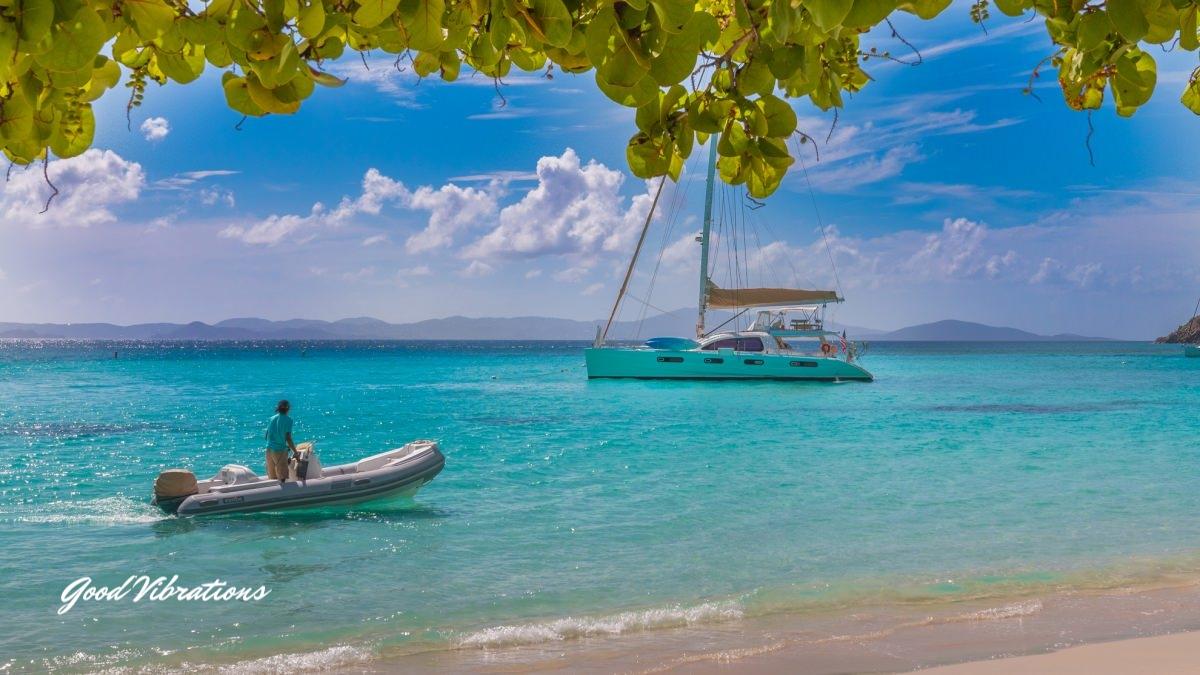 good vibrations- at anchor, dinghy, beach.jpg
