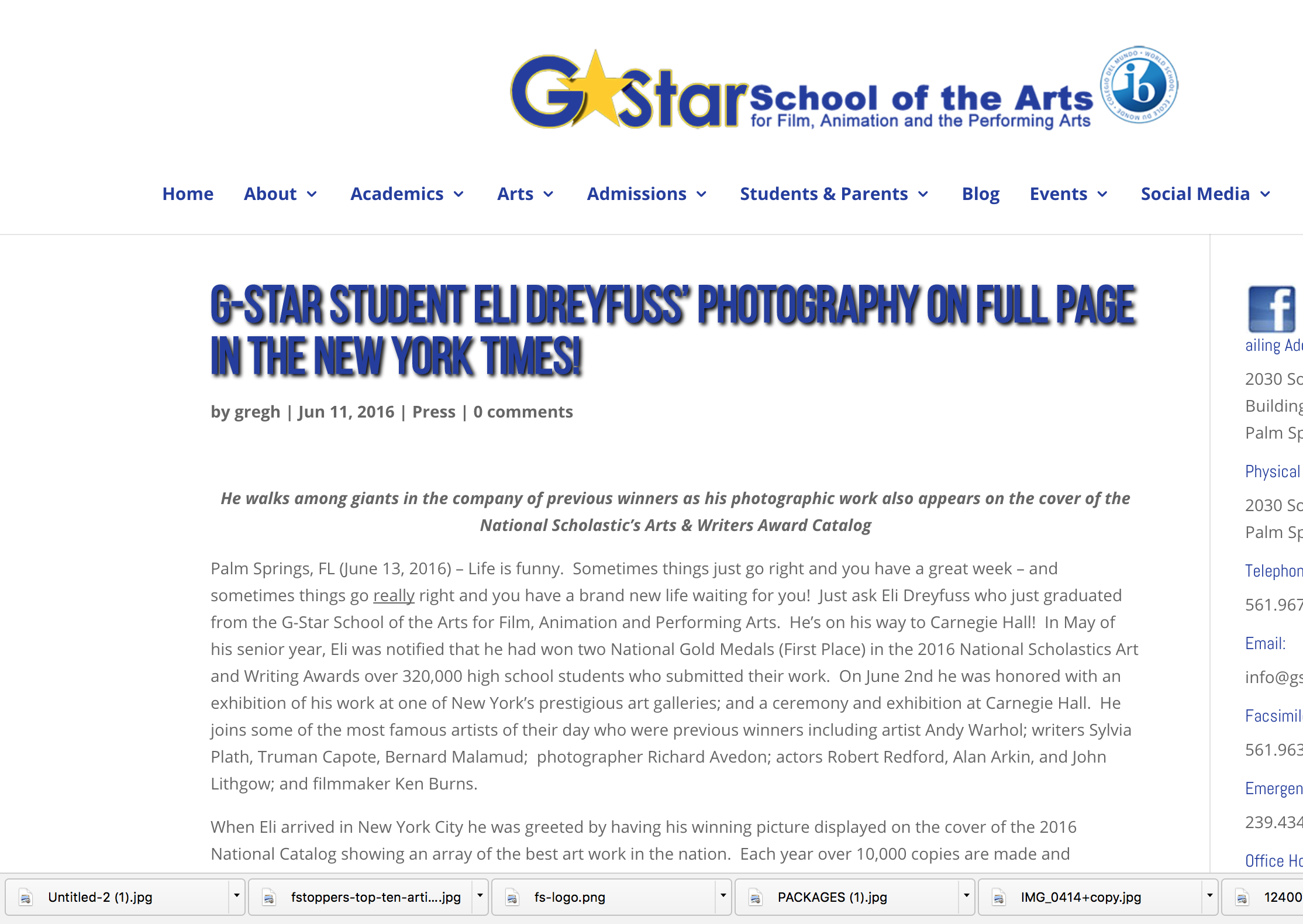 Interview from TransMedia and G-Star School of the Arts school for preforming arts and film in West Palm Beach, FL.
