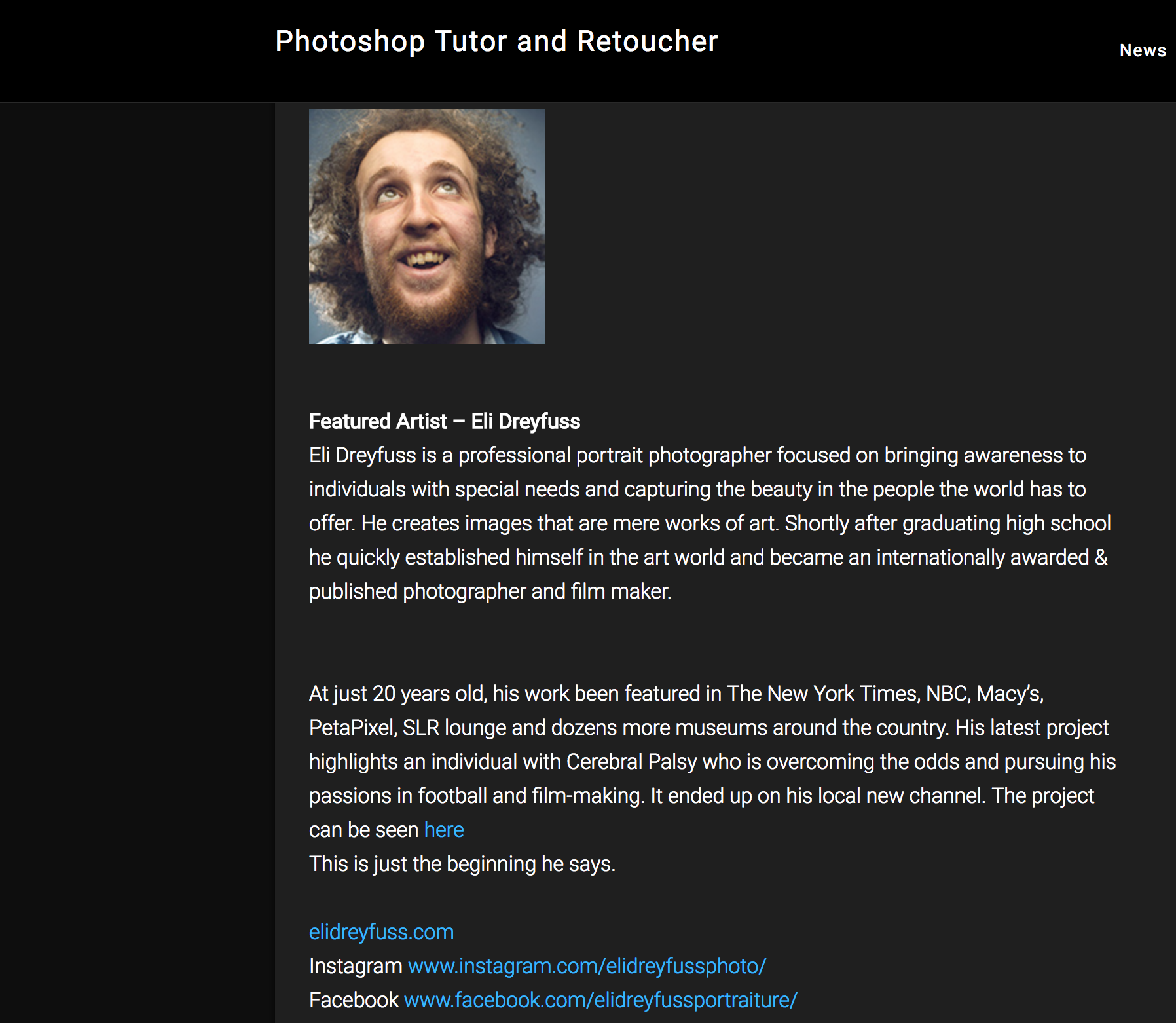 Feature article on The Photoshop and Lightroom Newsletter