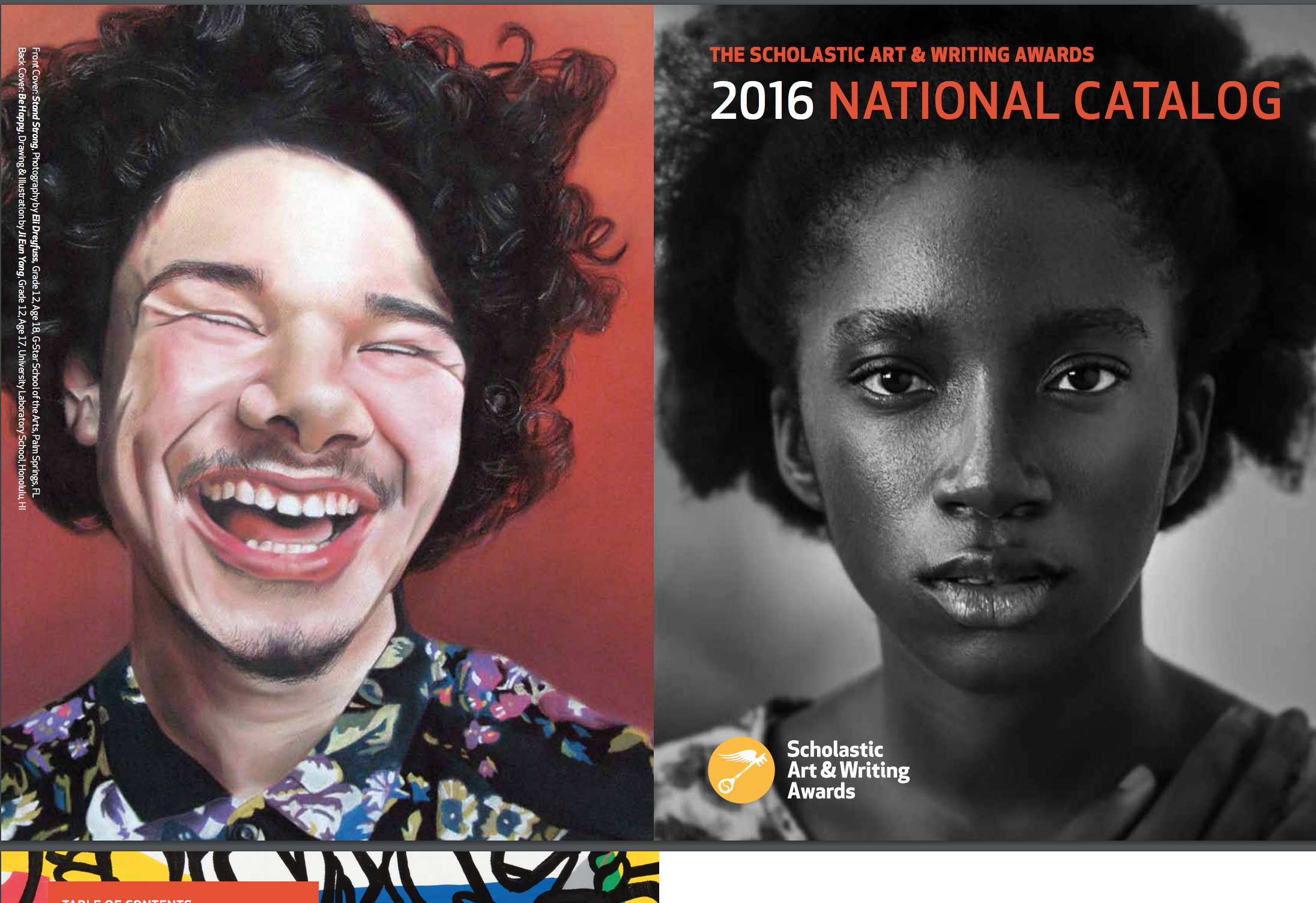 "Portrait ""Stand Strong"" shown on the front cover of the National Catalog of the 2016 Scholastic Art and Writing Awards. Over 10,000 copies were made and distributed accross the nation."
