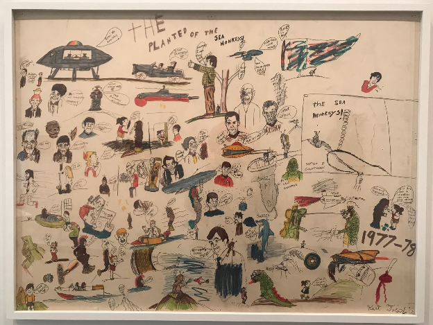 """Kurt Fisk, """"The Planet of the Sea Monkey Fishes"""", 1978-1978, ink on crescent board."""