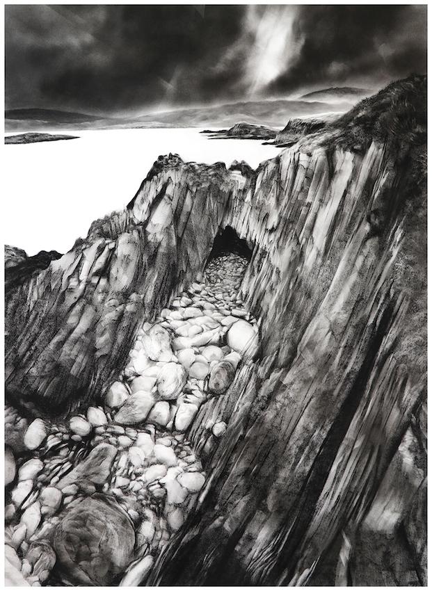 Amory Abott,  Sherkin Island VII, 2018, Charcoal on Stonehenge, 36 x 26 inches