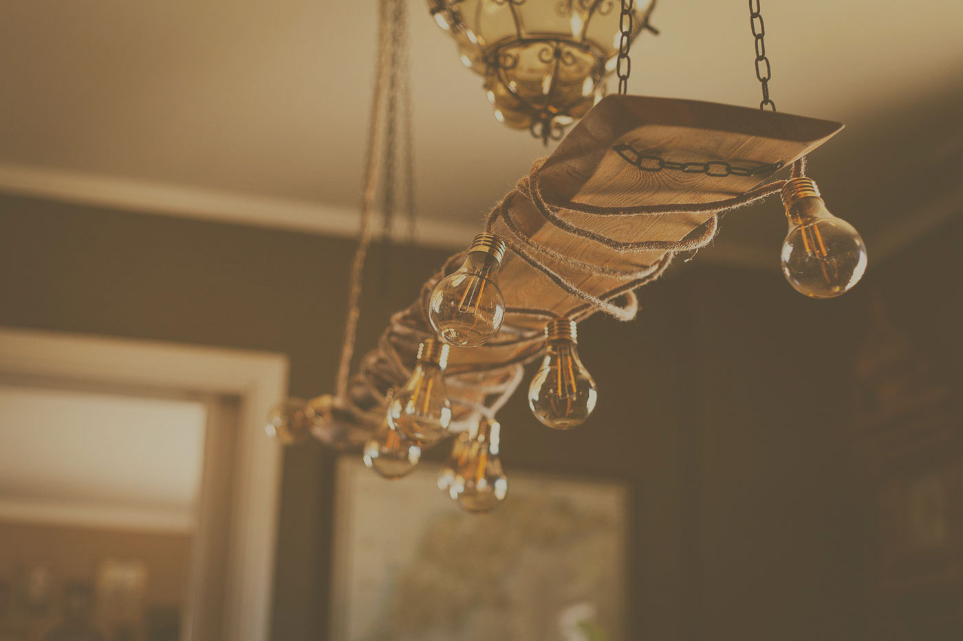 Decorate with a wooden chandelier - It's surprisingly easy!