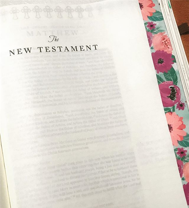 I have had this beautiful washi tape I have wanted to put in my Bible. It was so thick it just didn't seem to fit. I am so glad I finally figured out the perfect place to put it. 🌸 • • • #NewTestament #Bible #BibleJournaling #ESV #BibleStudy #GodsWord #WashiTape #Flowers