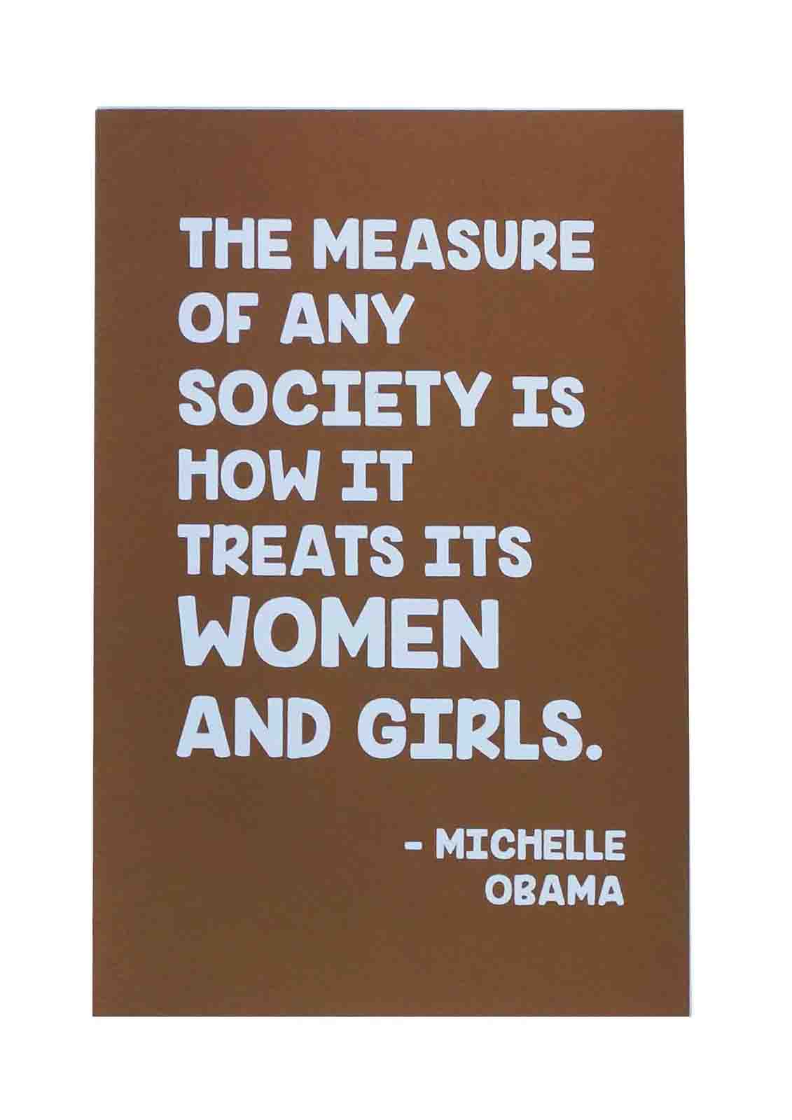 Ape_Bleakney_'The Measure Of Any Society' Women's March Poster on Speckltone Brown, 12.5''x19''.jpg
