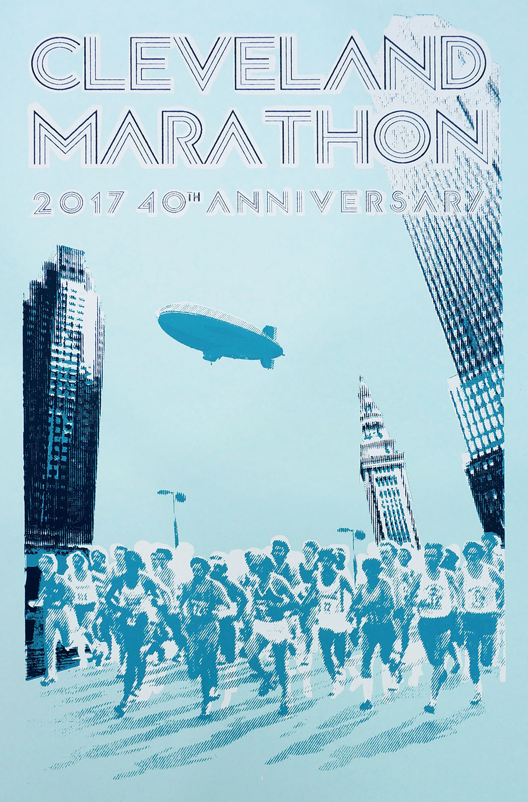 - I used a photograph of Cleveland Marathon runners from that era, provided by the organizers – combined with one of my own more recent featuring the Terminal Tower, Key Center, and the Huntington (old BP) Building. These photos were bitmapped to give the feel of a 1970s newspaper clipping / xerox / mimeograph and coupled with a retro font. 1970s teal ink was used with Sno-Cone blue paper to mimic the Marathon's colors. Each print was hand printed, signed and numbered.