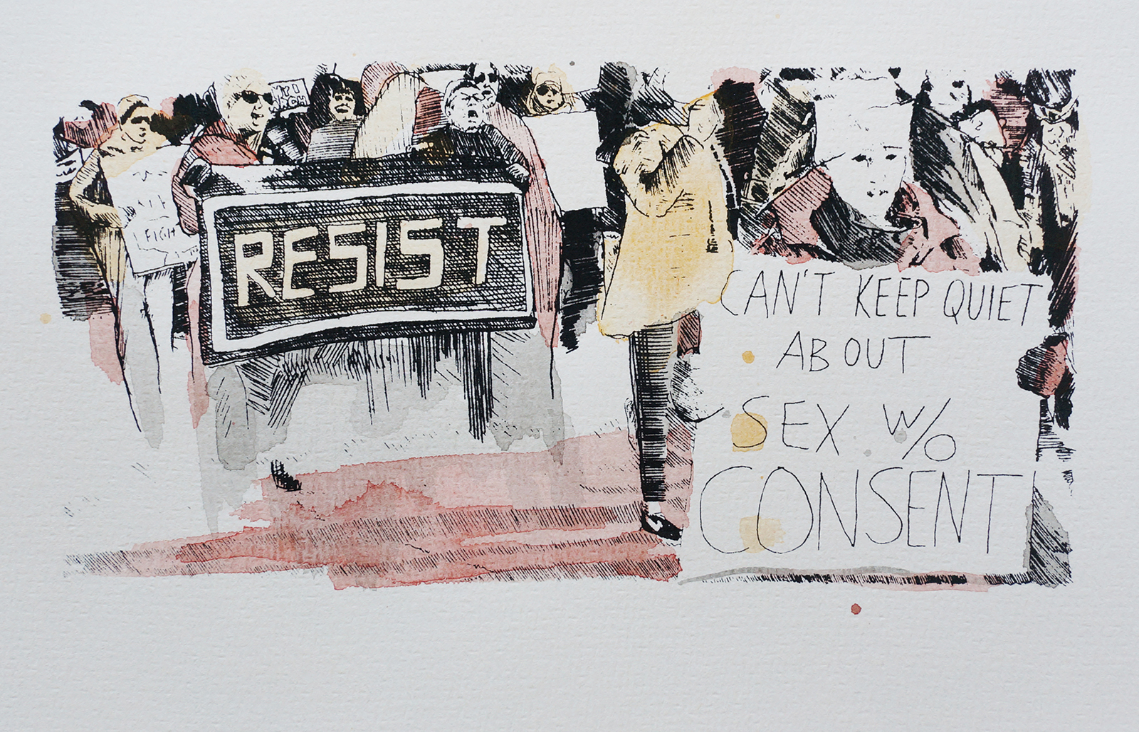 Ape_Bleakney_March Mixed Media - 'Can't Keep Quiet (3)', 6.5''x9.5'', Screen Print + Watercolor, 2018 copy.jpg