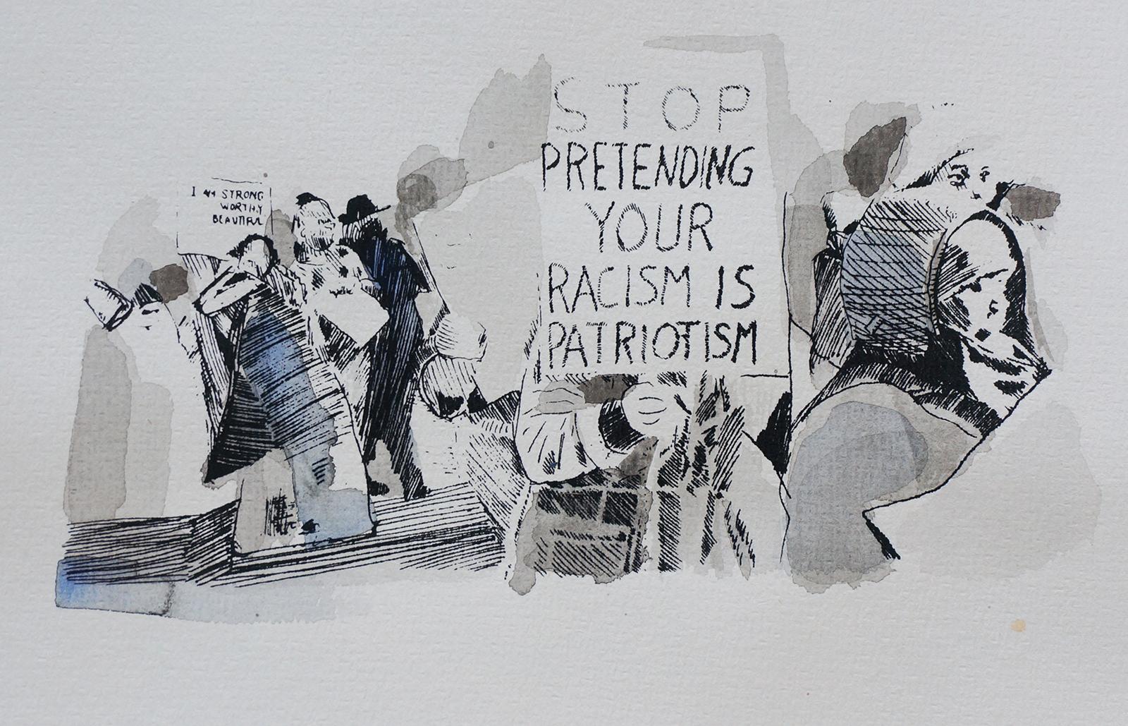 Ape_Bleakney_March Mixed Media - 'Stop Pretending (3)', 6.5''x9.5'', Screen Print + Watercolor, 2018 copy.jpg