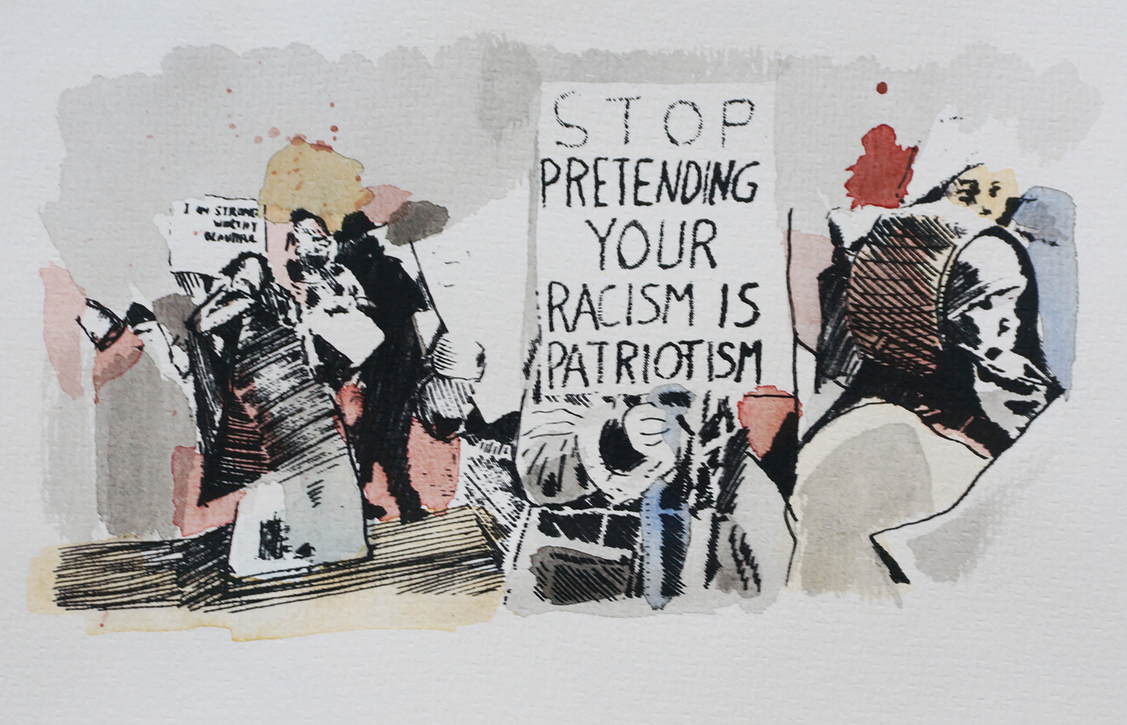 Ape_Bleakney_March Mixed Media - 'Stop Pretending (4)', 6.5''x9.5'', Screen Print + Watercolor, 2018 copy.jpg