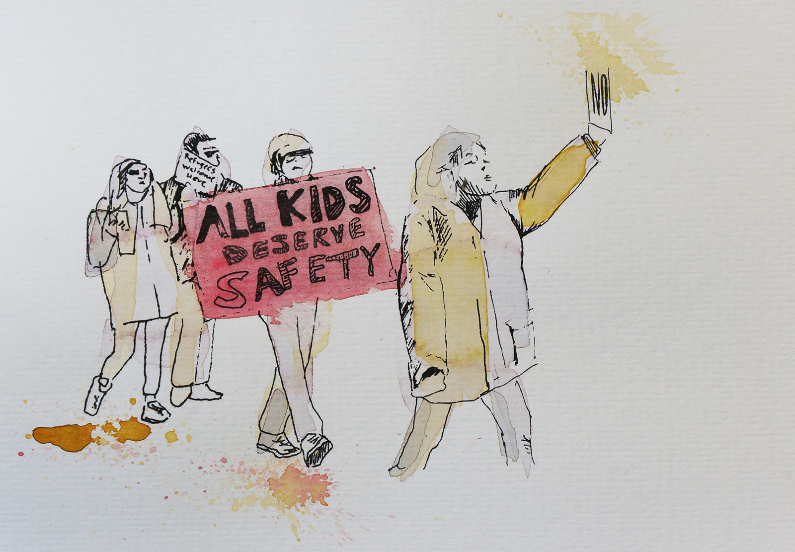 Ape_Bleakney_March Mixed Media - 'All Kids (1)', 6.5''x9.5'', Screen Print + Watercolor, 2018 copy.jpg