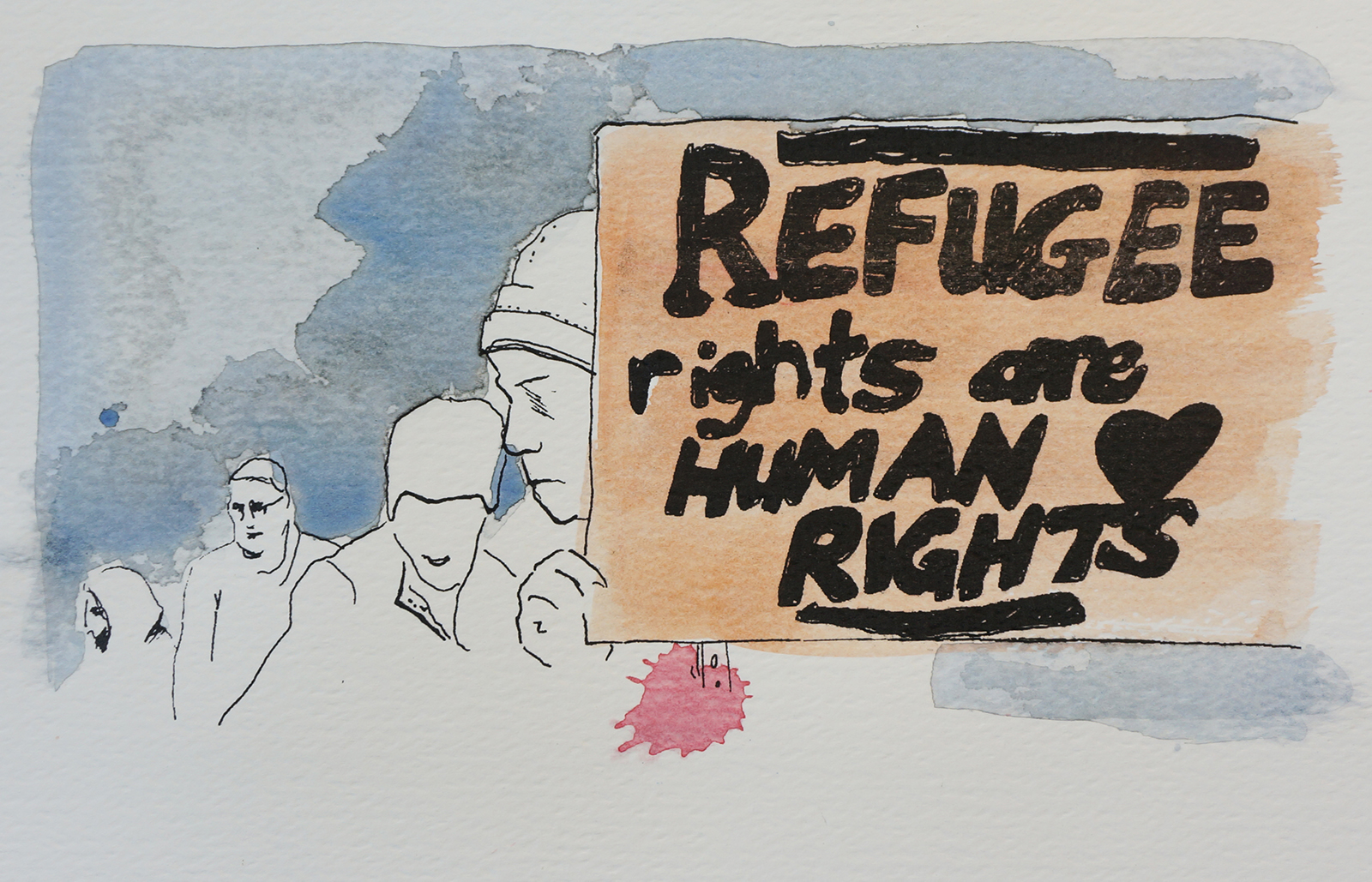 Ape_Bleakney_March Mixed Media - 'Refugee Rights (8)', 6.5''x9.5'', Screen Print + Watercolor, 2018 copy.jpg
