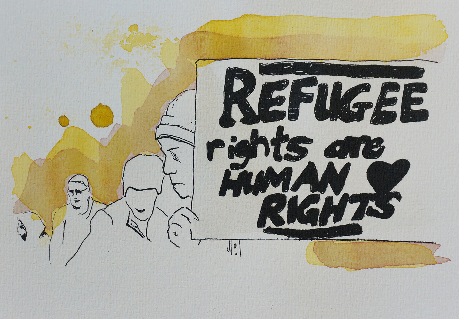 Ape_Bleakney_March Mixed Media - 'Refugee Rights (6)', 6.5''x9.5'', Screen Print + Watercolor, 2018 copy.jpg