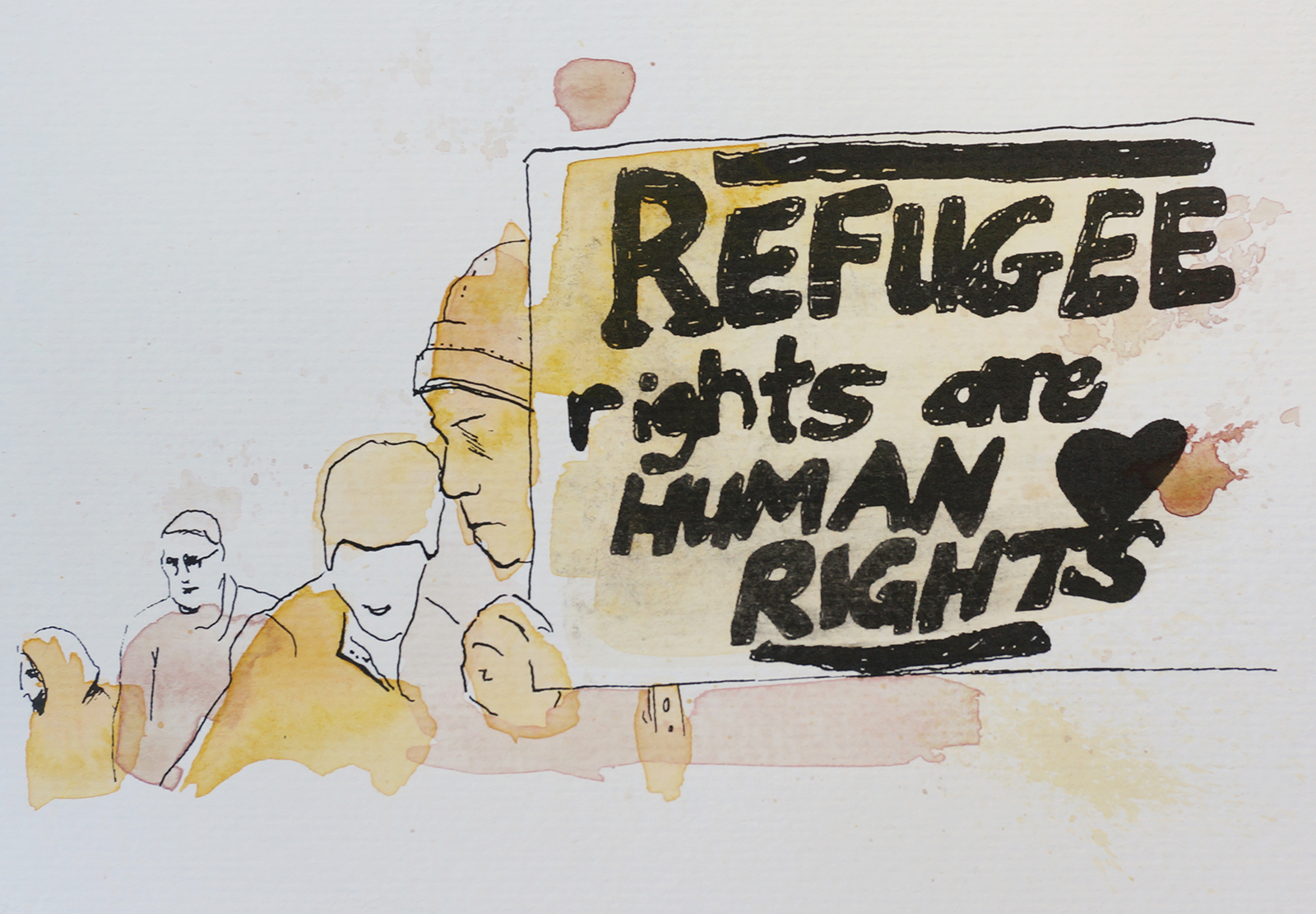 Ape_Bleakney_March Mixed Media - 'Refugee Rights (4)', 6.5''x9.5'', Screen Print + Watercolor, 2018 copy.jpg